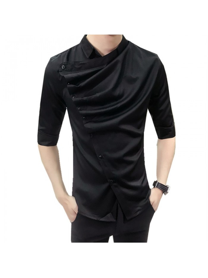 Summer Gothic Shirt Ruffle Designer Collar Shirt Black And White Korean Men Fashion Clothing Prom Party Club Even Shirts
