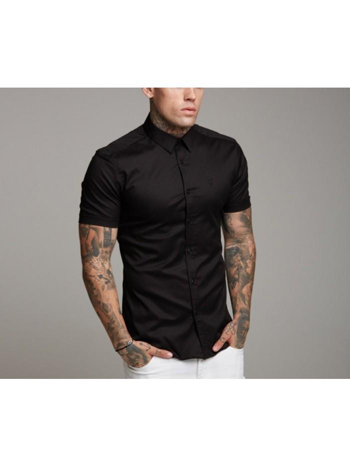 Loose Size Men Shirts Black white 100% Cotton Short Sleeve men's shirt