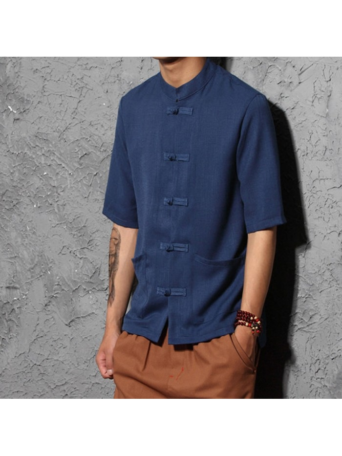 Cotton Linen Men Short Sleeve Dress Shirts Chinese Style Clothes