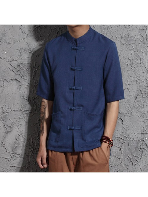 Cotton Linen Men Short Sleeve Dress Shirts Chinese...