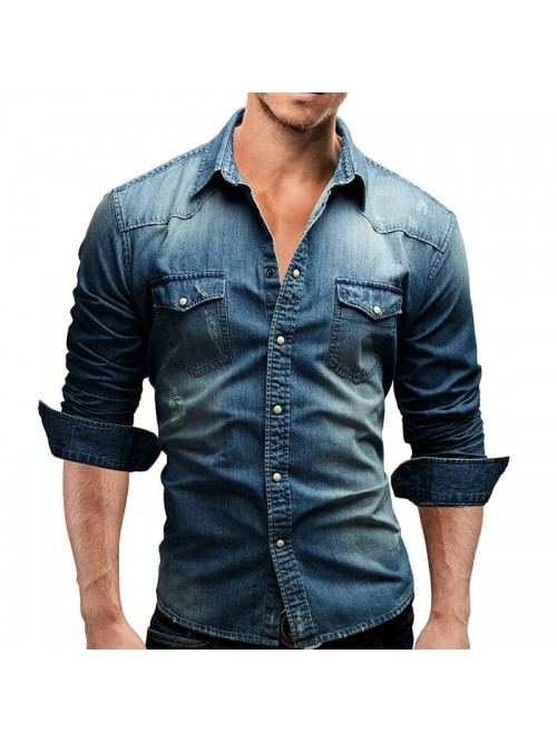 Male Long Sleeve Shirts Casual Solid Color Denim S...