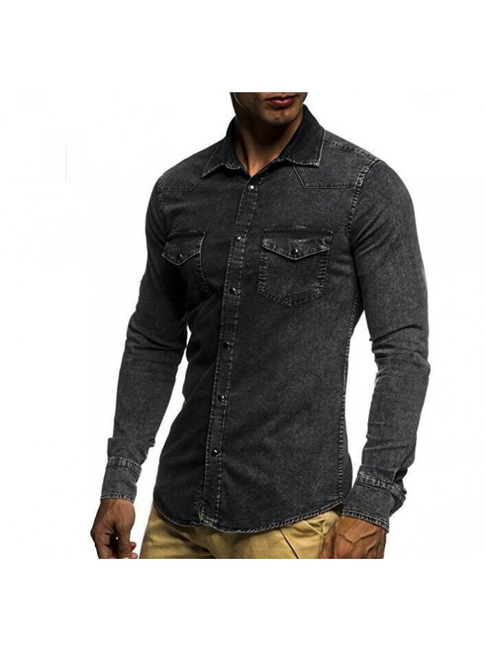 Male Long Sleeve Shirts Casual Solid Color Denim Slim Fit Dress Shirts