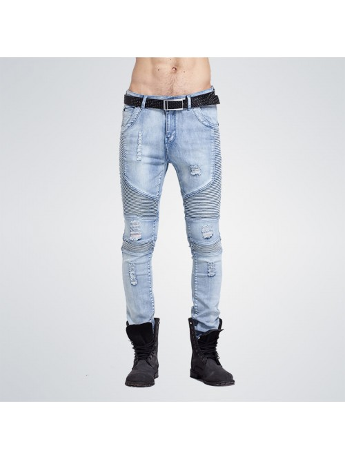 Hip-Hop Men Jeans Casual Denim Distressed Men's Sl...