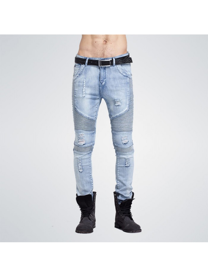 Hip-Hop Men Jeans Casual Denim Distressed Men's Slim Jeans Pants  Skinny Rock Ripped Jeans