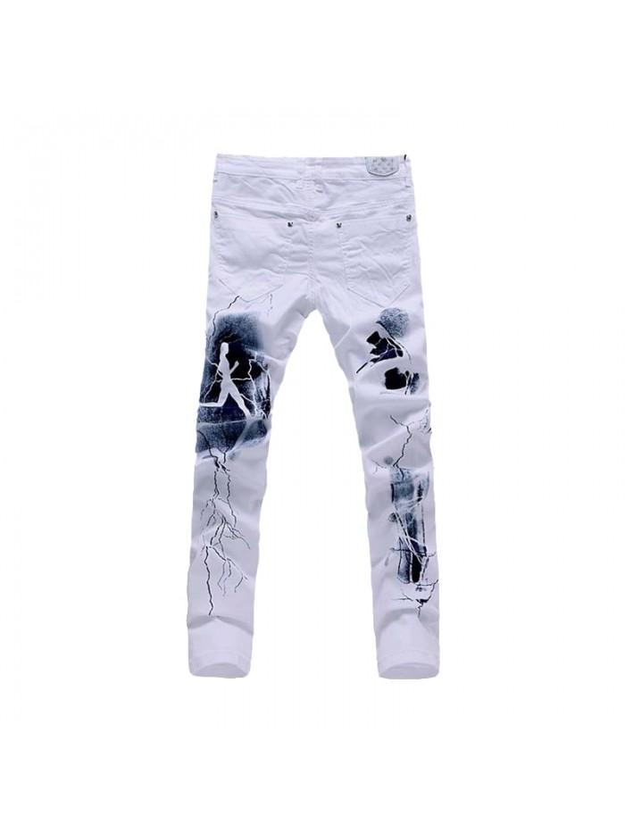 White 3D Printed Men Jeans Unique Lighting Man Biker Printing Cotton Skinny Jeans For Men Denim Pants