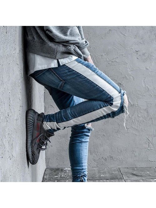 Knee Hole Side Zipper Slim Distressed Jeans Men  R...
