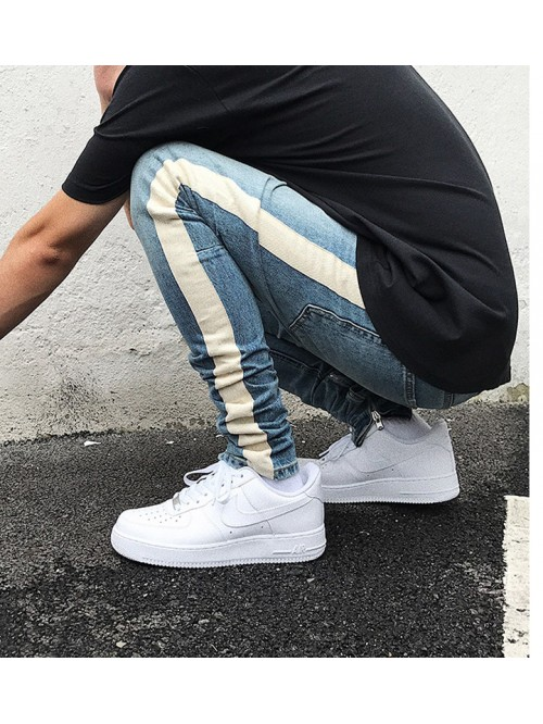 Skinny Jeans Men Hip Hop stripe Ripped Elastic Sli...