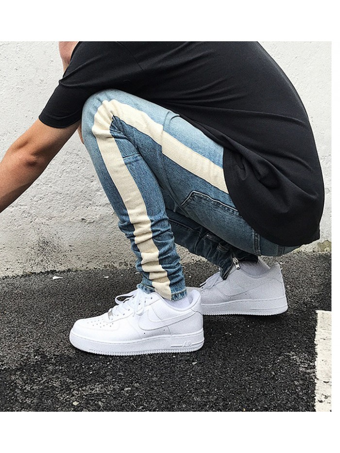 Skinny Jeans Men Hip Hop stripe Ripped Elastic Slim Fit Jeans Male Stretchy Pants street fear of God trousers