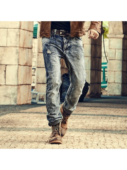 Mens Retro ripped jeans mens solid Washing denim j...