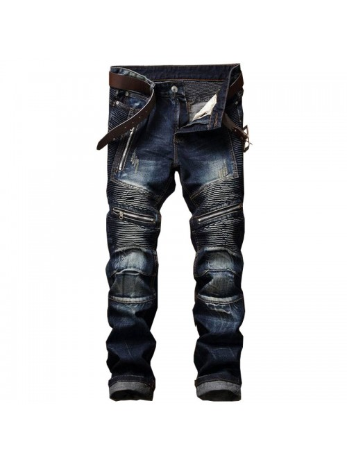 Men's Pleated Biker Jeans Pants Slim Fit Brand Des...