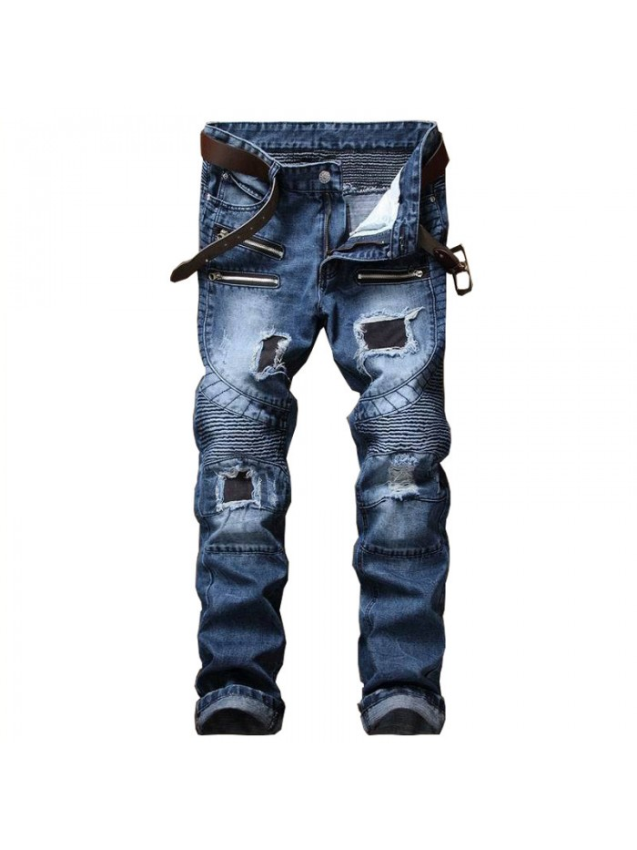 Men's Pleated Biker Jeans Pants Slim Fit Brand Designer Motocycle Denim Trousers For Male Straight Washed Multi Zipper