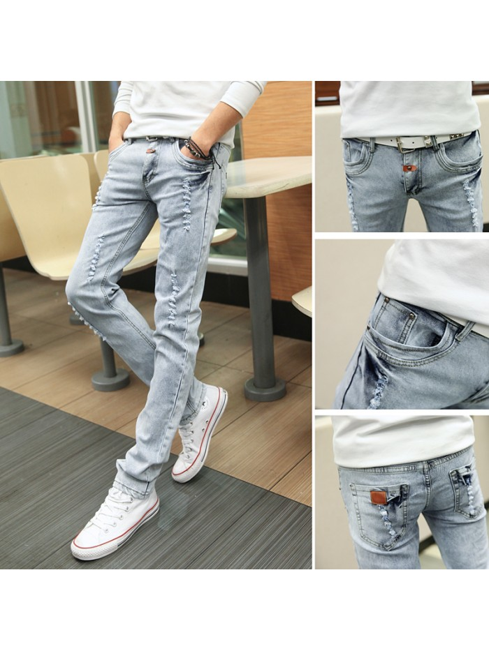 Spring and Summer New Men's Jeans Pant Korean Style Influx Sky Blue Casual Trousers Cool Stretch Man denim Pants