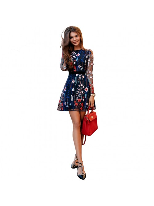 Sexy Women Floral Embroidery Dress Sheer Mesh Summ...