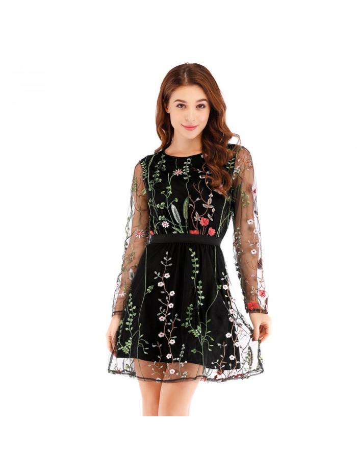 Sexy Women Floral Embroidery Dress Sheer Mesh Summer Boho Mini A-line Dress See-through Black Dress