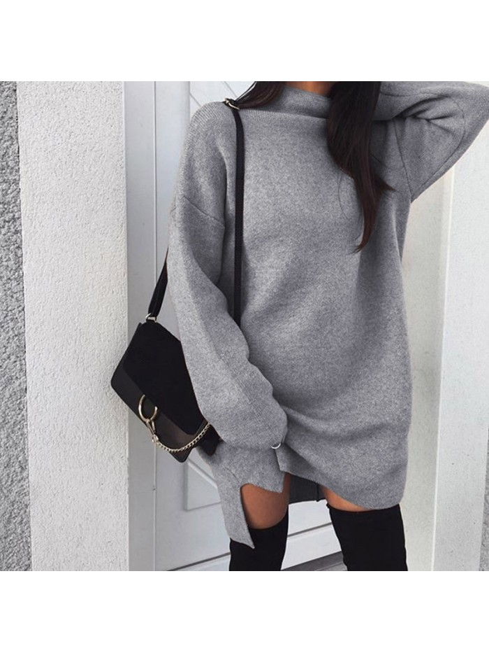 Autumn Winter Knitted Dress Women Turtleneck Long Sleeve Warm Sweater Dress Casual Solid Loose Mini Dresses