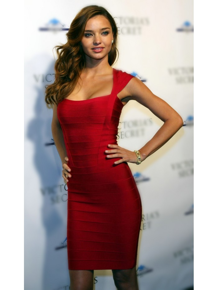 High Quality Women Fashion Sexy Red Rayon Bandage Dress