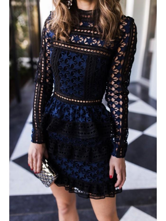 Self Portrait Dress 2018 Women Wear Long Sleeve Cake Layer Elegant Summer Club Dress