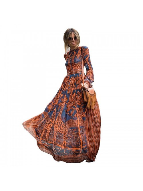 Summer Spring Fashion Women Long Dress Chiffon Lon...