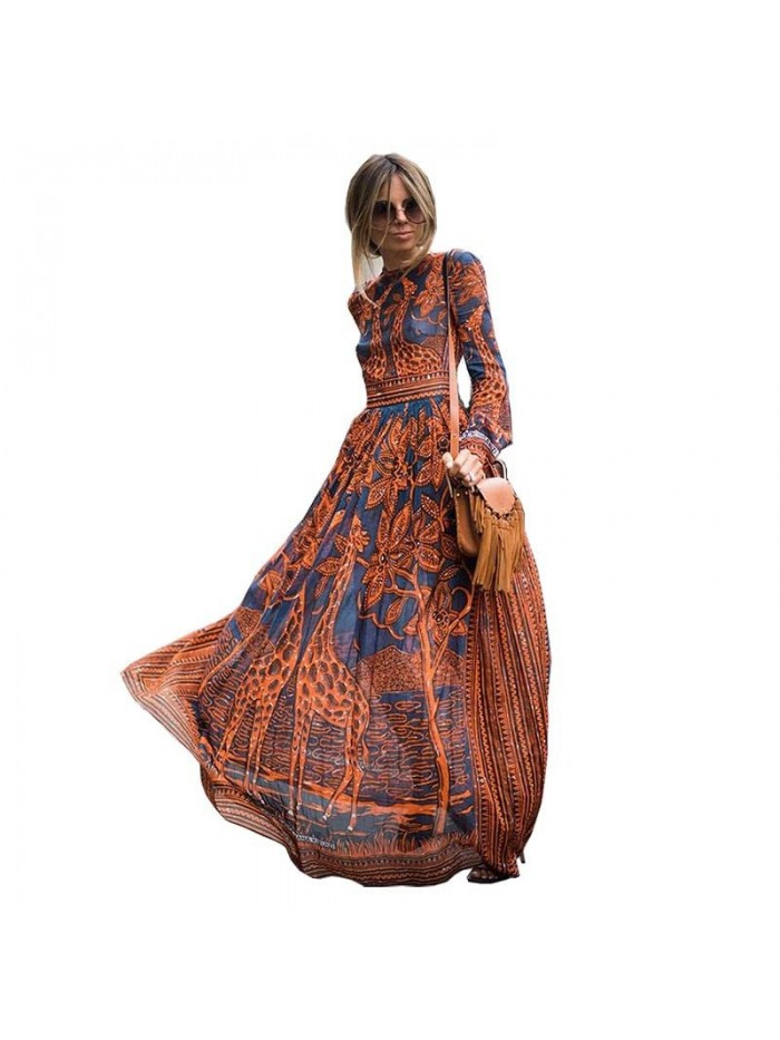 Summer Spring Fashion Women Long Dress Chiffon Long sleeve Print Maxi Dress Elegant Casual Party Dresses
