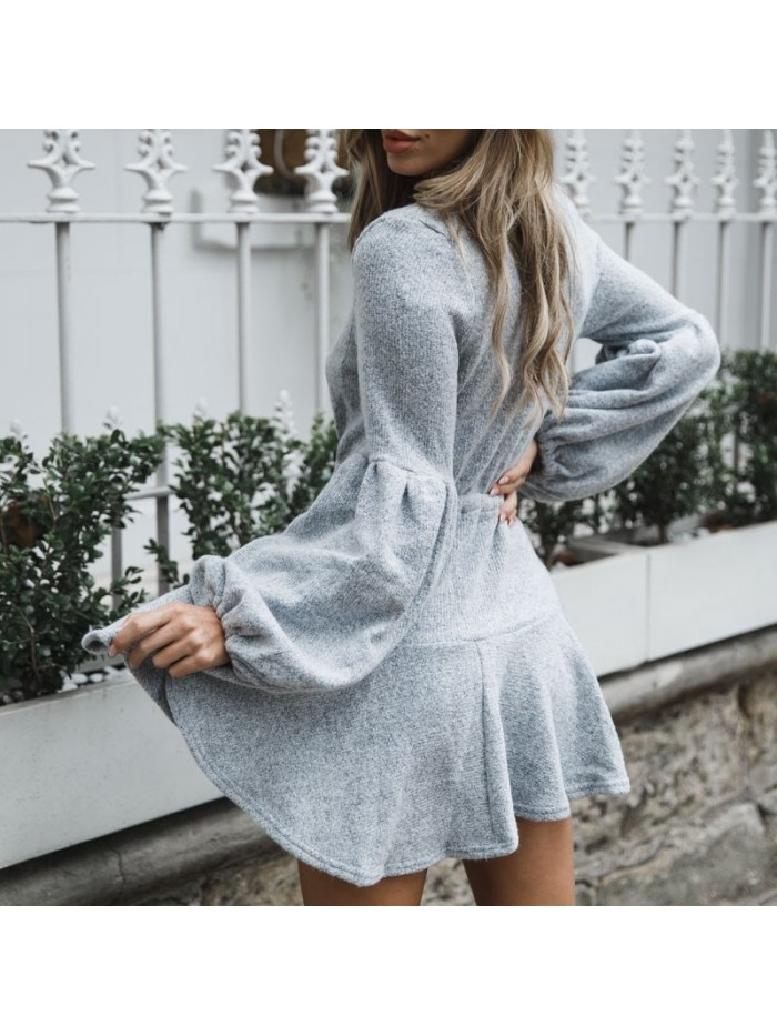 Women V Neck Ruffle Knitted Sweater Dress Autumn Winter Lace Up Short Dresses Casual Long Sleeve Solid A-Line Dress