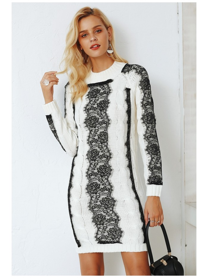 Neck twist knitted sweater dress women Elegant lace autumn winter dress 2018 Vintage long sleeve mini dress