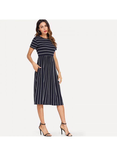 Navy Elegant Round Neck Short Sleeve Mixed Stripe ...