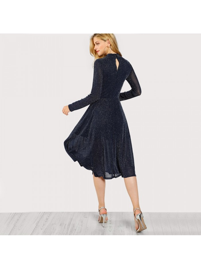 A Line Ladies Dresses Navy Long Sleeve Mock Neck Glitter Fit abd Flare Dress Stand Collar Elegant Party Dress