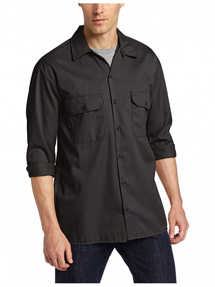 Men's Long-Sleeve Work Shirt Stain Release Wrinkle Resistant Cotton Shirt