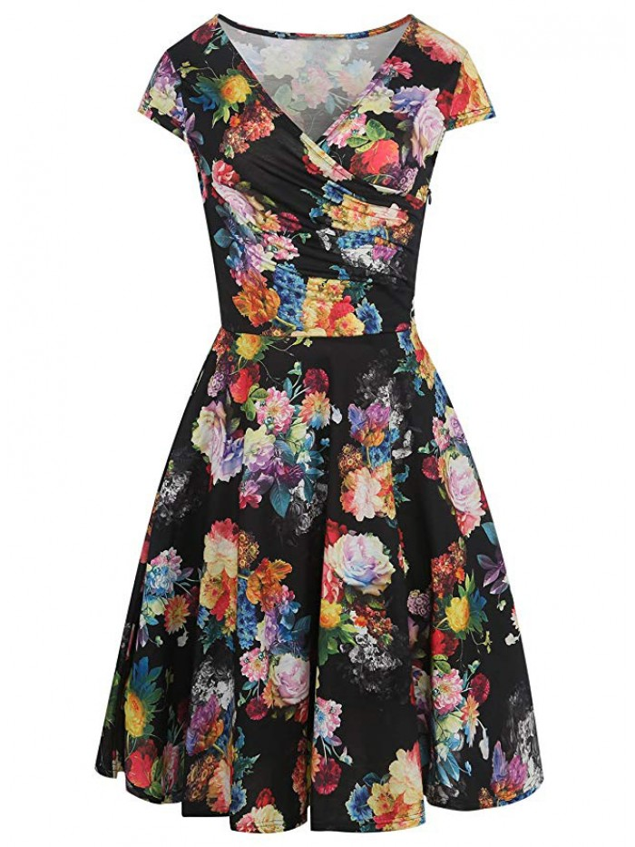 Women's  V-Neck Cap Sleeve Floral Casual Work Stretch Swing Dresses