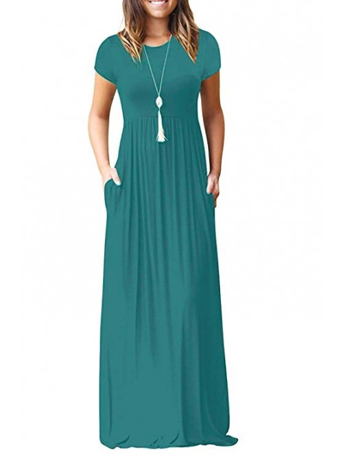 Women's Short Sleeve Loose Plain Maxi Dresses Casu...