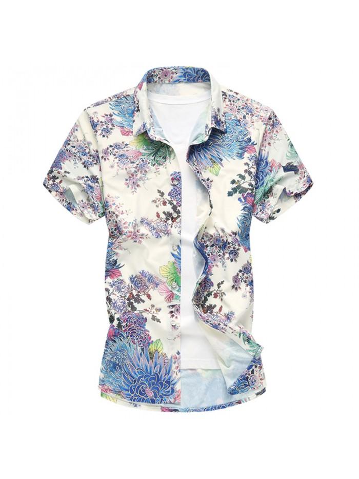 New Floral Print Hawaiian Casual Shirt Brand Clothing Short Sleeve Men Shirt