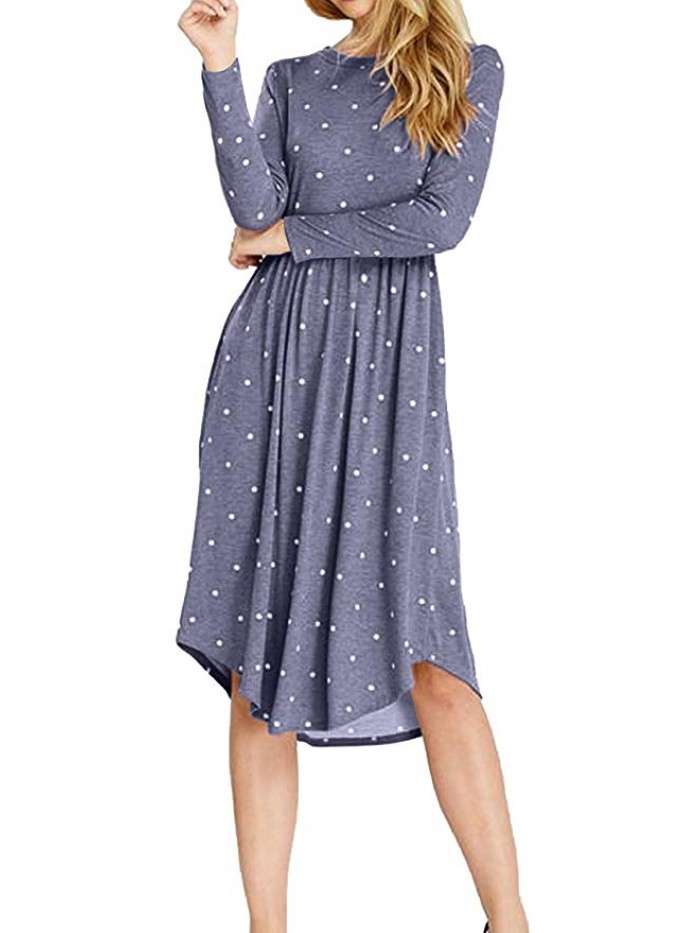 Women Long Sleeve Pleated Polka Dot Pocket Swing Casual Midi Dress