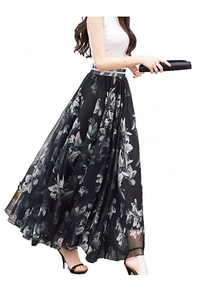 Women Full/Ankle Length Blending Chiffon Long Skirt Beach Skirt