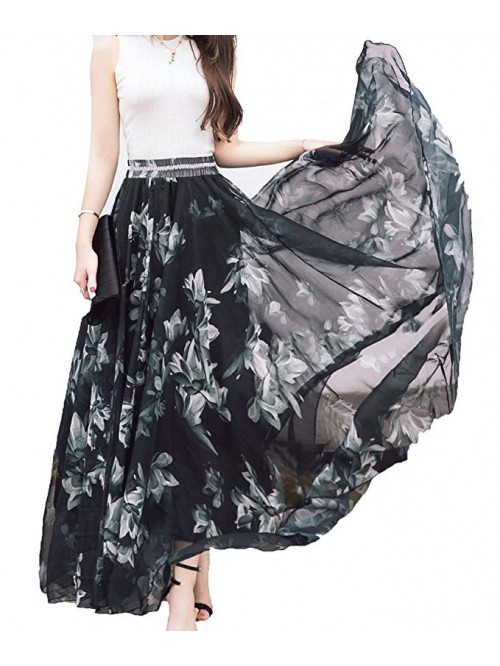 Women Full/Ankle Length Blending Chiffon Long Skir...
