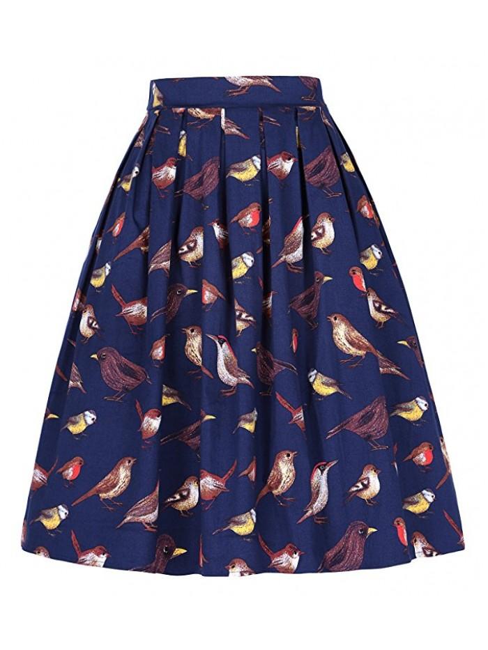 Women Pleated Vintage Skirts Floral Print