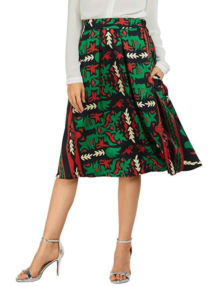 Women's Flared A line Pocket Skirt High Waist Pleated Midi Skirt