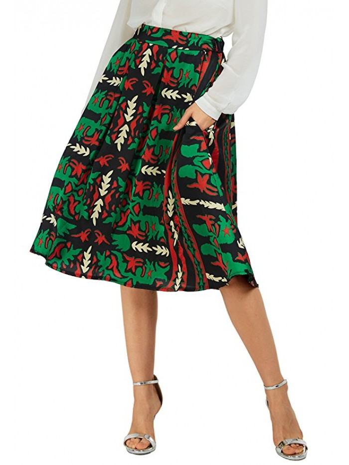 Women's Flared A line Pocket Skirt High Waist Pleated Midi Skirt