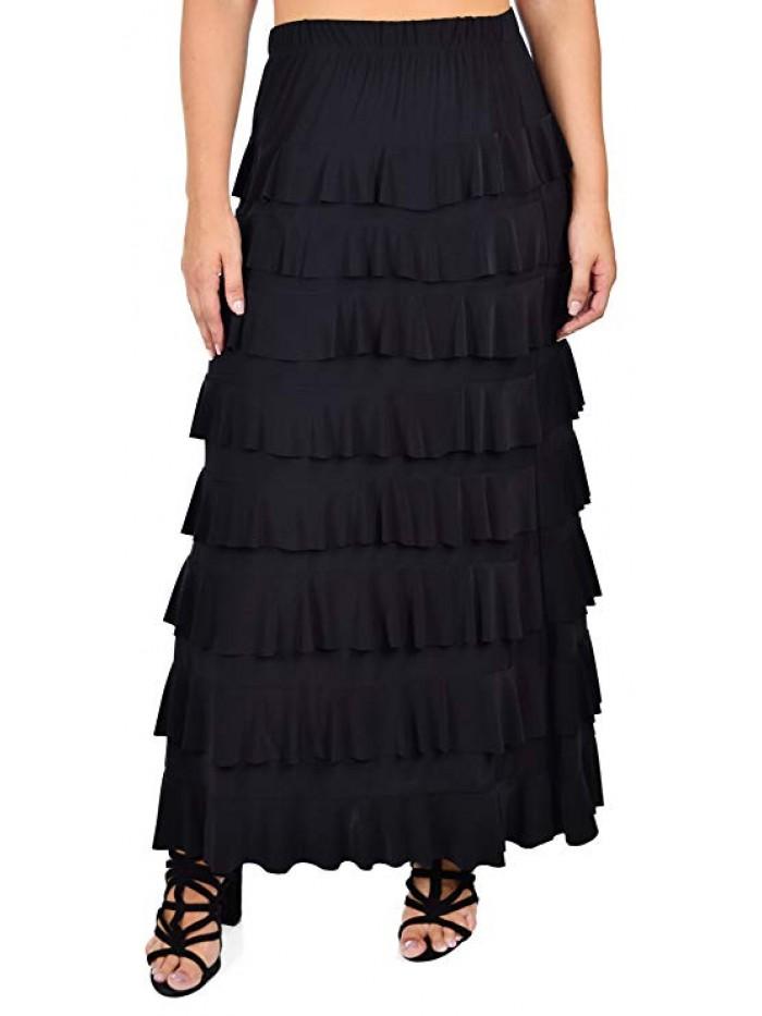 Women Waterfall 8 Tiered Boho Layered Maxi Skirt