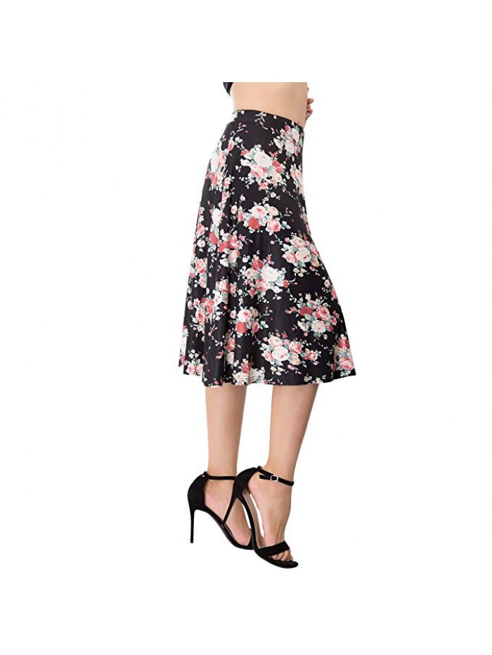 Flared Stretchy Midi Skirt High Waist Jersey Skirt Women