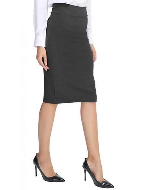 Women's Elastic Waist Stretch Pencil Skirt