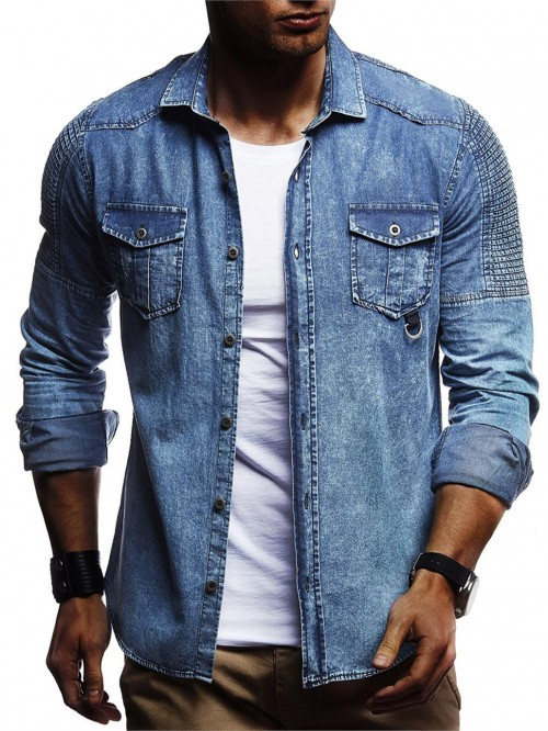 Men Washed Shirts Long Sleeves Slim Fit Jean Shirt...