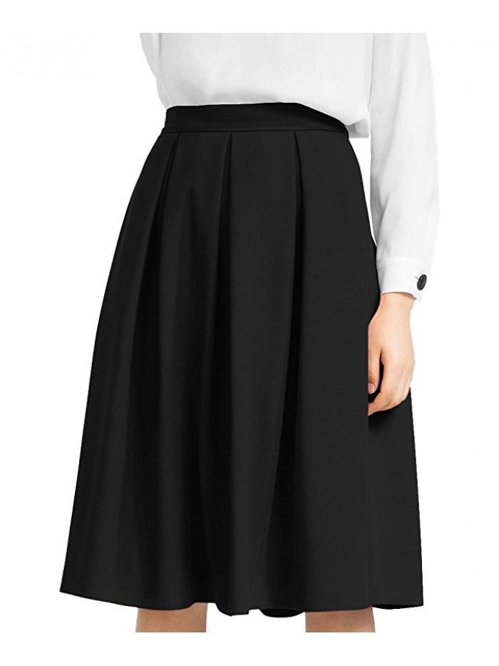 Women's High Waist Flared Skirt Pleated Midi Skirt with Pocket