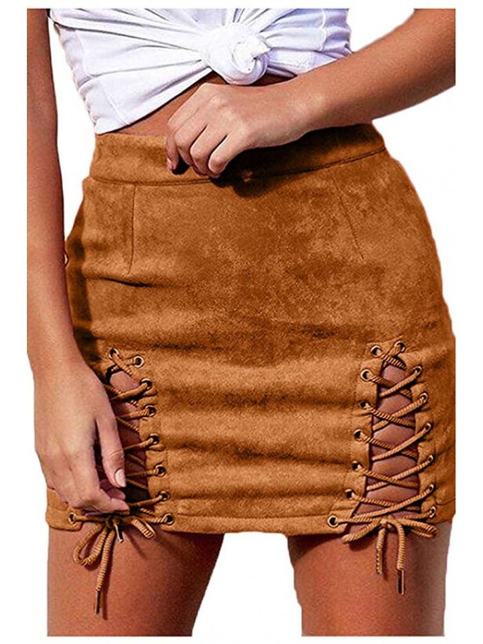 Womens Sexy High Waist Lace up Faux Suede Split Tight Mini Skirt