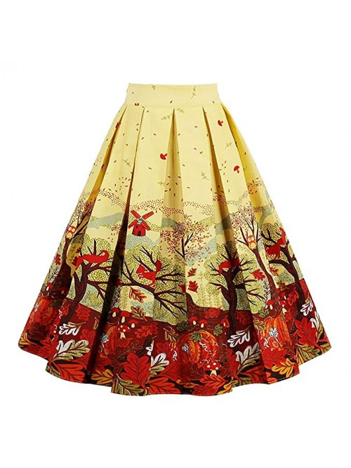 Women's Pleated Vintage Skirt Floral Print A-line ...