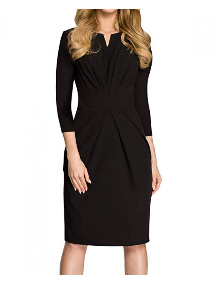 Women Short Sleeve Formal Party Work Business Office Sheath Dress