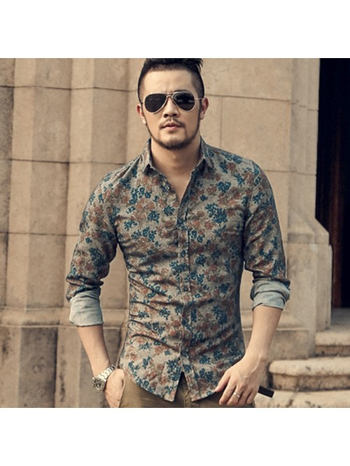 New Fashion Casual Men Shirt Long Sleeve Europe St...