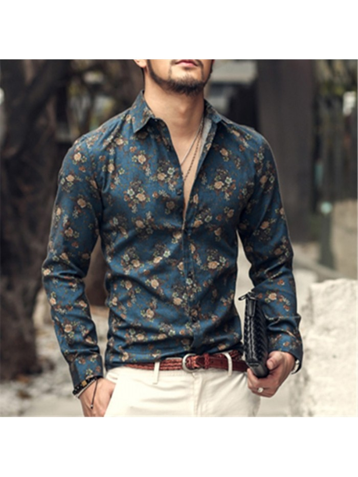 New Fashion Casual Men Shirt Long Sleeve Europe Style Slim Fit Shirt Men High Quality Cotton Floral Shirts Mens Clothes