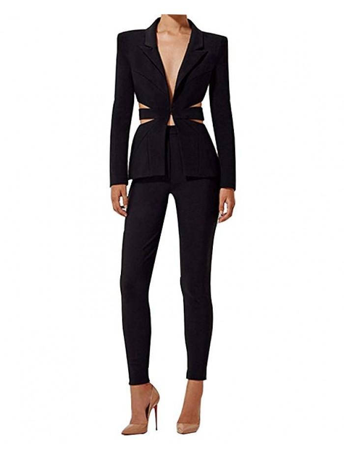 Women's Cut Out 2 Pieces Slim Fit Blazer Jacket Pants Suit Set
