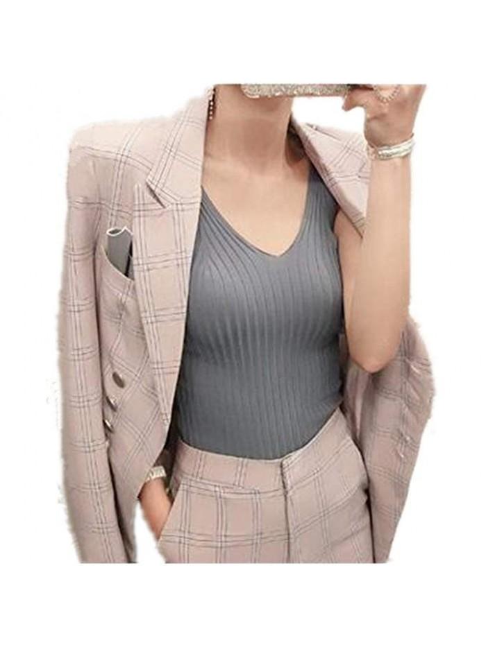 Women's Elegant Business Slim Fit Two Piece Office Lady Blazer and Pants Suit Set