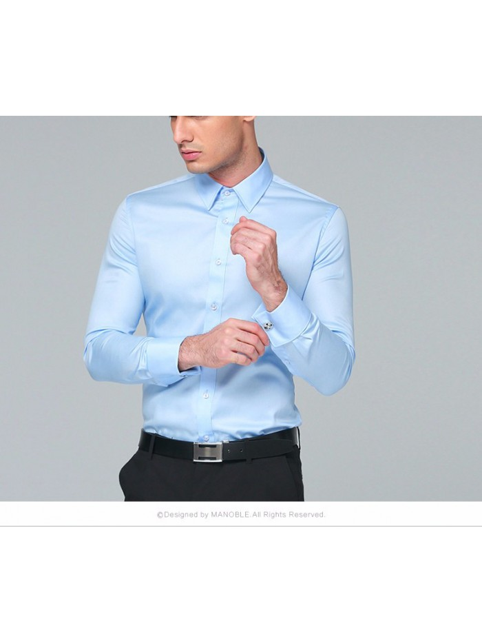 Men's Dress Shirt Cotton New Regular Fit Cufflink Shirts Business Long Sleeve Business Suits Shirts Solid Color